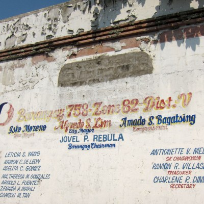 politicians' names on a wall