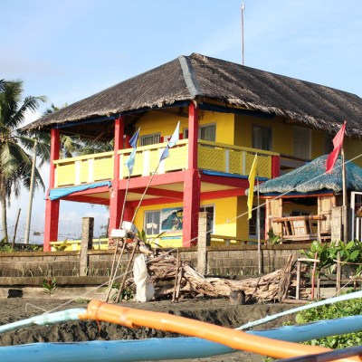 colorful beach lodging