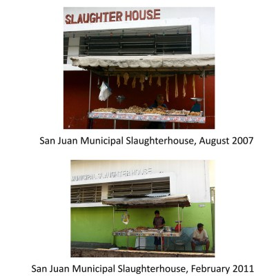 chopping meat in front of slaughterhouse, taken four years apart