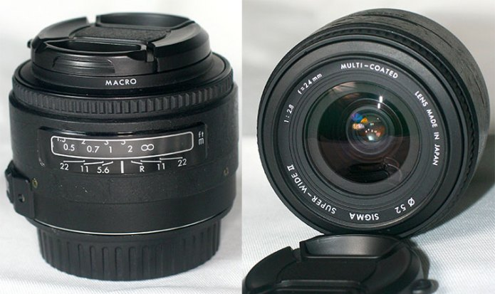 """Sigma 24 mm f/2.8 prime lens (around normal lens length on my camera not really """"super wide"""" like the label on the front element says)"""