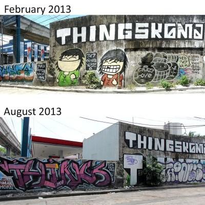 Aurora Boulevard graffiti shot five months apart