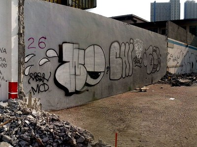 Manila parking lot graffiti panorama