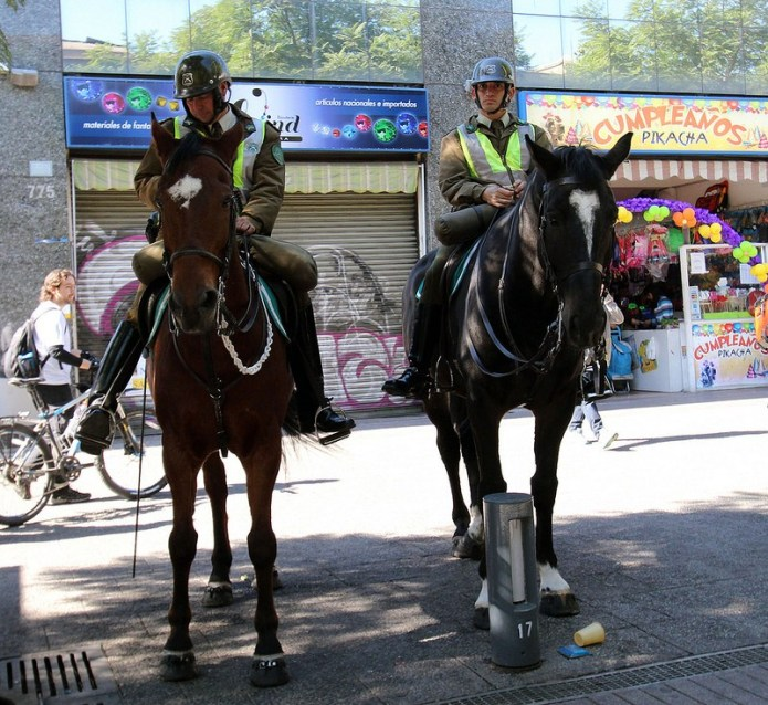 mounted police in the Central Market area