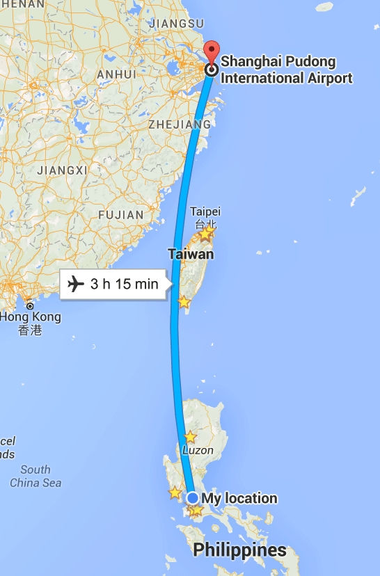 map showing my route to shanghai