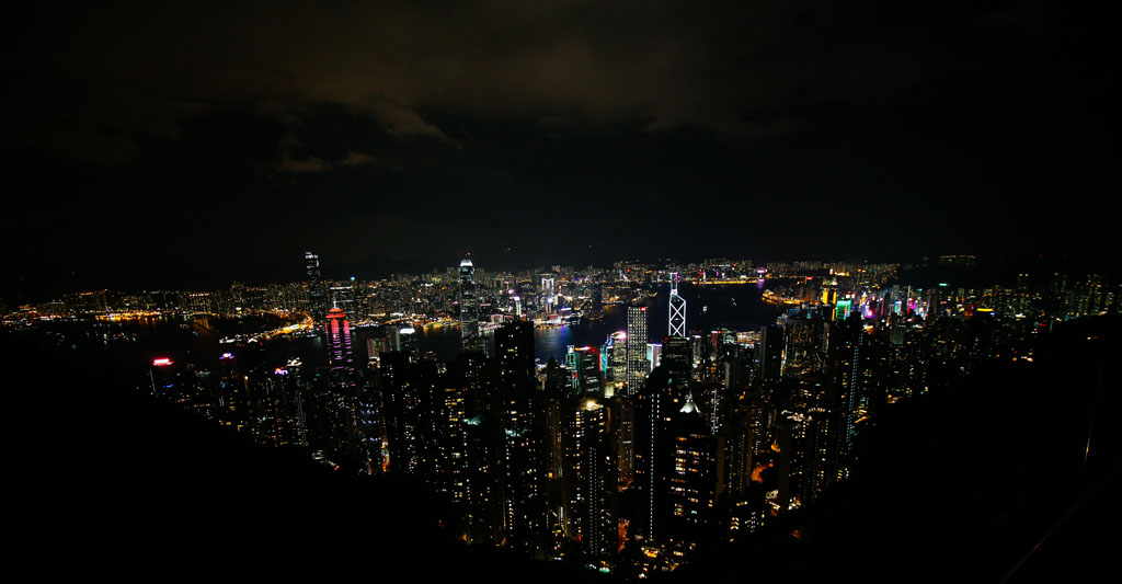 Hong Kong skyscrapers at night