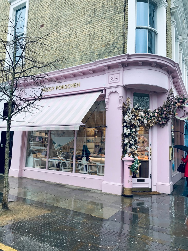 """The pink themed London cafe/bakery called """"Peggy Porschen"""" in Chelsea."""