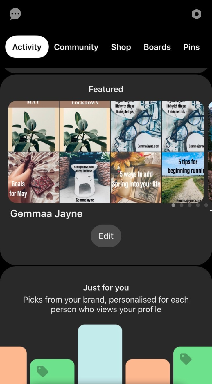 """A print screen of """"Gemmaa Jayne"""" Pinterest site showing the featured page of the current pins."""