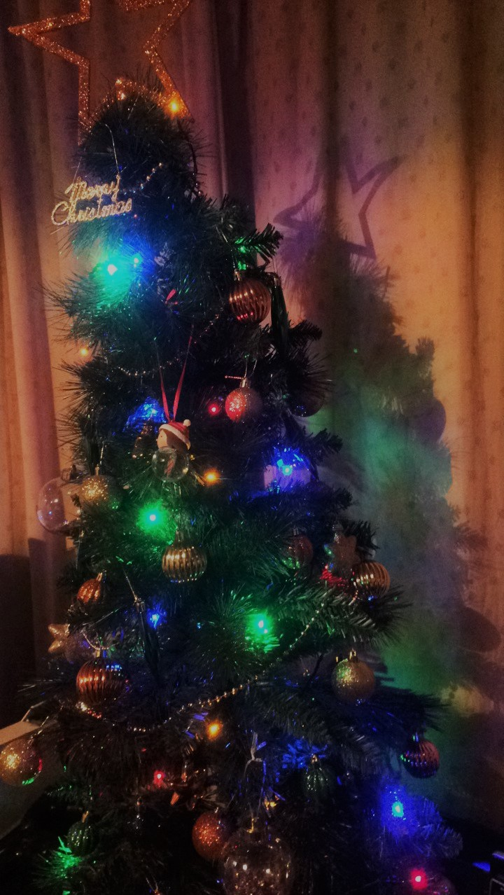 A Christmas tree covered in multi-coloured lights, baubles in browns, gold and greens and tinsel wrapped around.