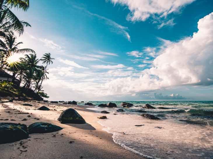 A beach on an Island filled with sand, rocks, palm trees and a blue sky.