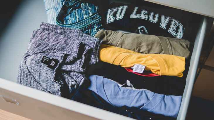 folded assorted color shirts