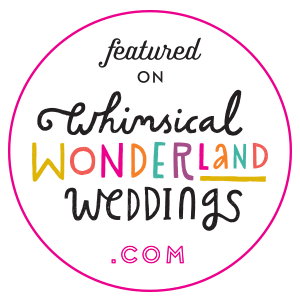 Featured on Whimsical Wonderland Weddings blog badge