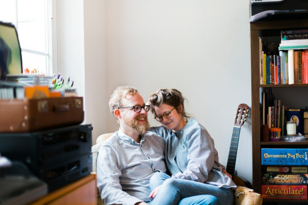 Engagement shoot in couples home