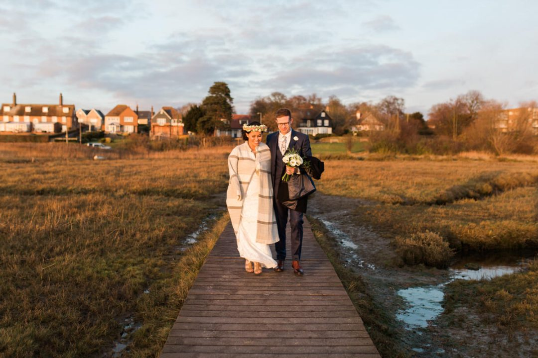 Winter wedding in Mersea, Colchester