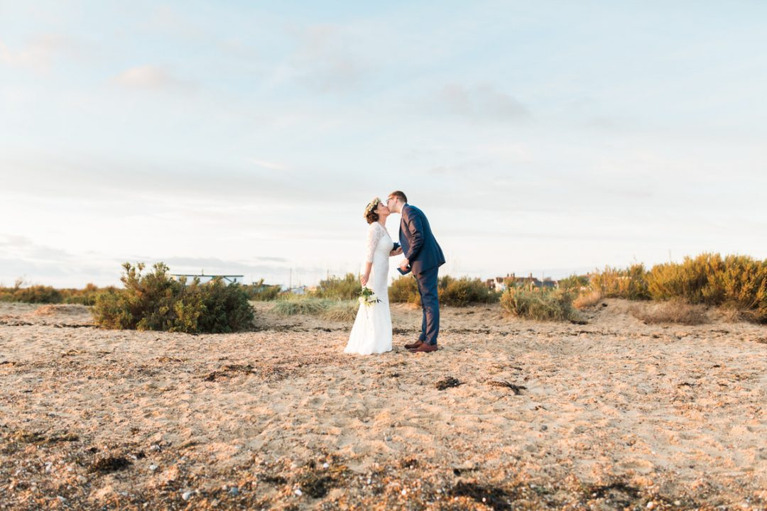 Vow exchange on Mersea beach