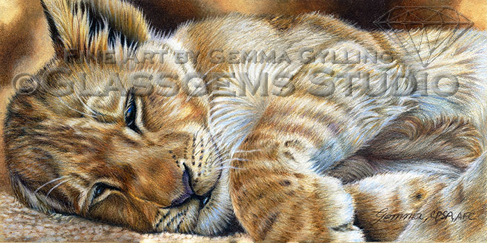 """A Lion Sleeps Tonight"" Lion Cub done with Colored Pencils on Suede Mat Board, 6"" x 12"""