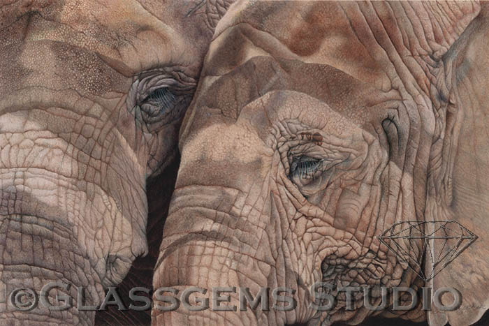 """BFF's - Save the Elephants"", colored pencil on suede mat board, 16"" x 24"""