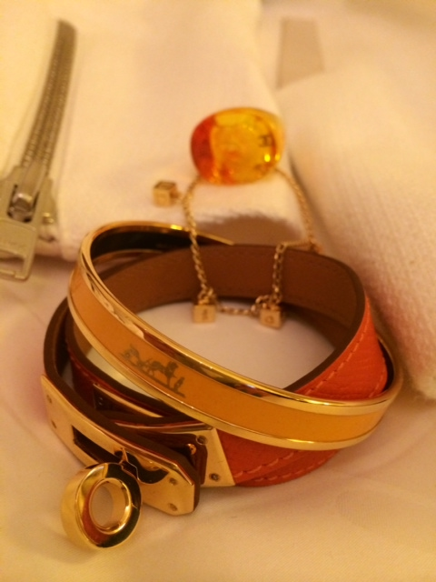 Bracelets: Christian Dior, Gold Tone, 1990s and Hermes Ring: Chanel, Resin, 1990s