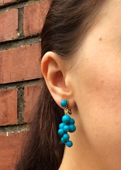 Turquoise Bead Earrings, 1970s, Gemma Redmond Vintage
