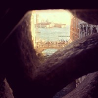 A view into Venice from the Bridge of Sighs