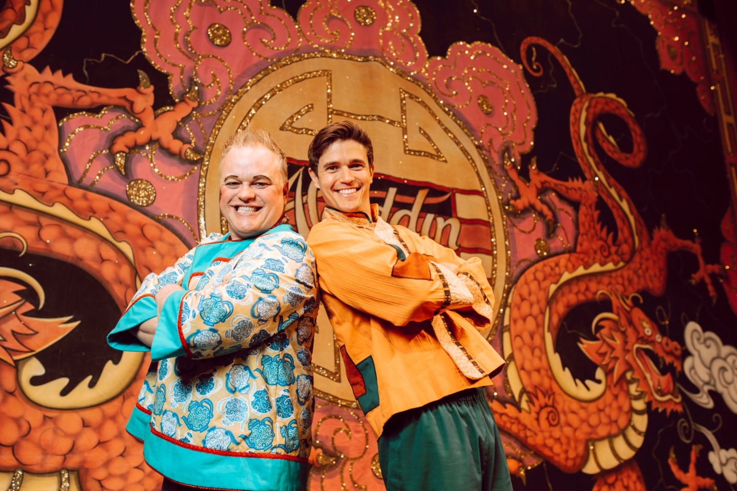 Charlie and Nic to camera 1440x960 - 3 Wishes with Aladdin at Tyne Theatre 2019
