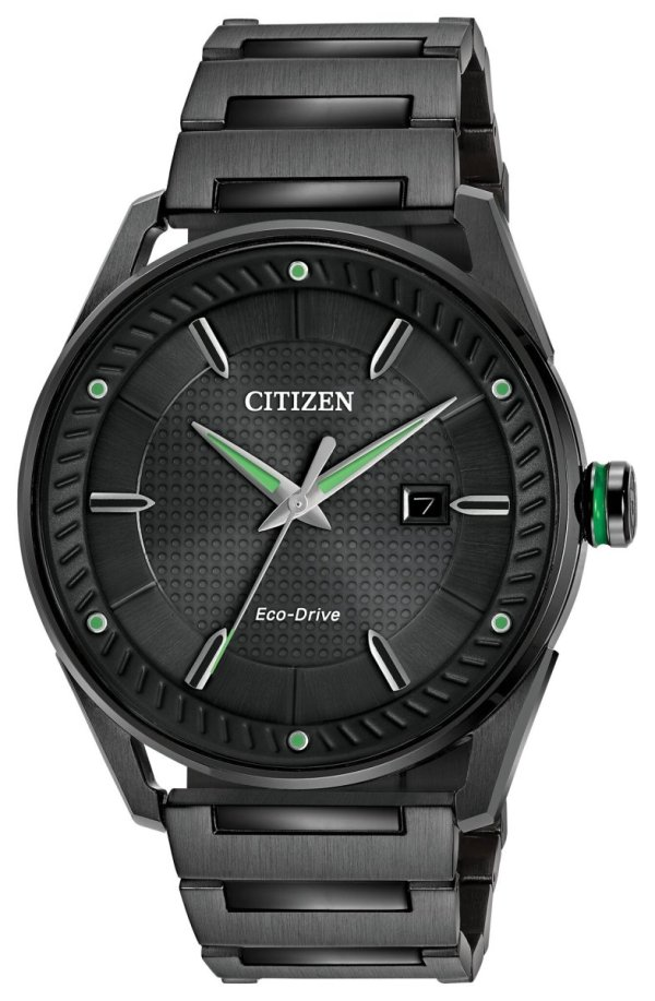 CITIZEN CITIZEN Drive Men's Solar Powered Black Dial Watch - Black Stainless Steel - Gemorie
