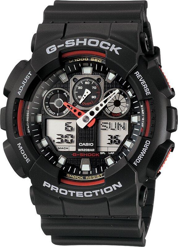 G-SHOCK G-SHOCK Stopwatch & Speed Indicator Men's Watch - Black & Red - Gemorie