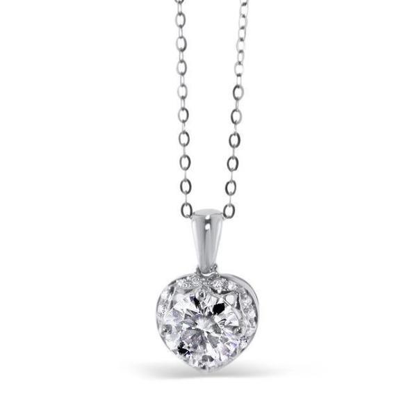"GEMODA GEMODA ""Amore"" Moissanite 1ctw Heart Halo Necklace in 18K Gold - Gemorie"