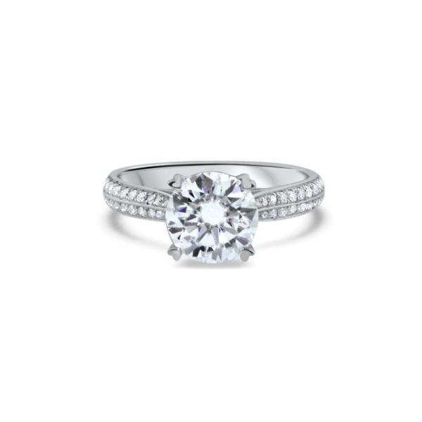 """GEMODA GEMODA """"Amour"""" Moissanite 2ctw Signature Round 18k Channel Set Engagement Ring - Gemorie"""