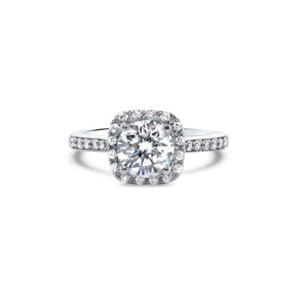 "GEMODA GEMODA ""Angel"" Moissanite 1ctw Moissanite Square Halo 18k Engagement Ring - Gemorie"