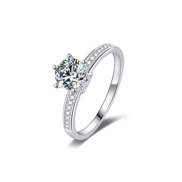 "GEMODA GEMODA ""Arabella"" Moissanite Solitaire 18k White Gold Engagement Ring - Gemorie"