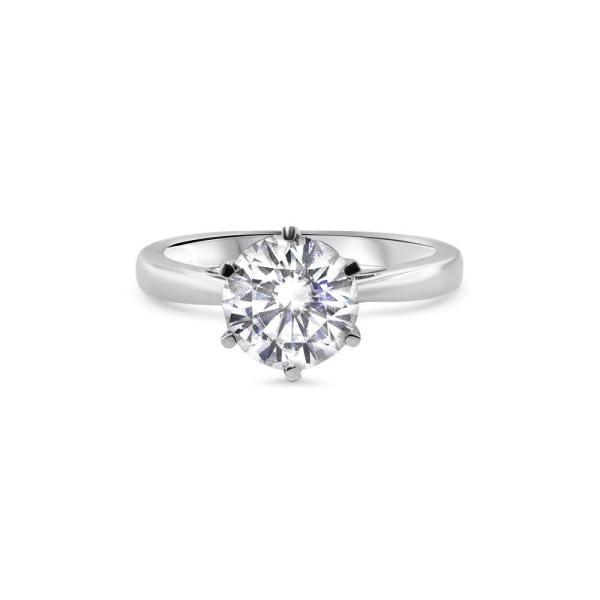 """GEMODA GEMODA """"Bella"""" Moissanite 2ctw Brilliant Round Solitaire 18k White Gold Engagement Ring - Gemorie"""