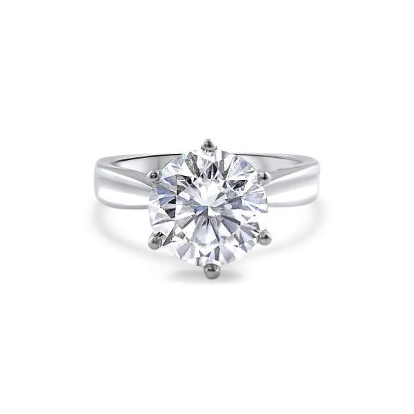 "GEMODA GEMODA ""Bijoux"" 3.5ctw Moissanite Brilliant Round Solitaire 6 Prong Setting Engagement Ring - Gemorie"