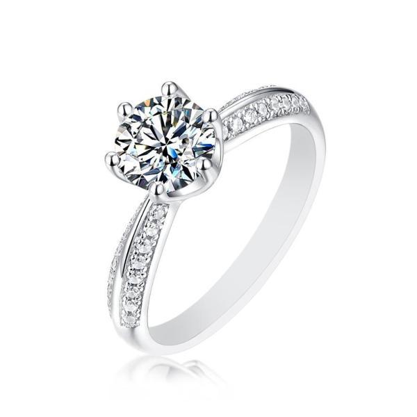 "GEMODA GEMODA ""Constance"" Moissanite Pave Ring in 925 Sterling Silver - Gemorie"