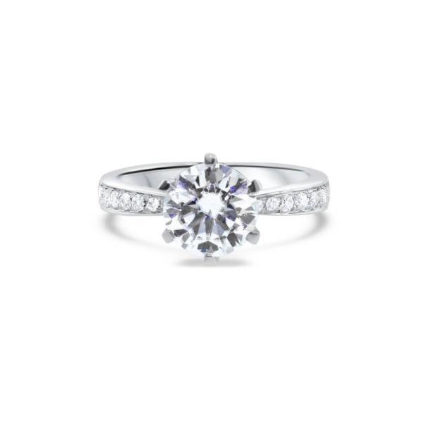 """GEMODA GEMODA """"Devotion"""" 2ctw Moissanite Round Channel Set Engagement Ring - Gemorie"""
