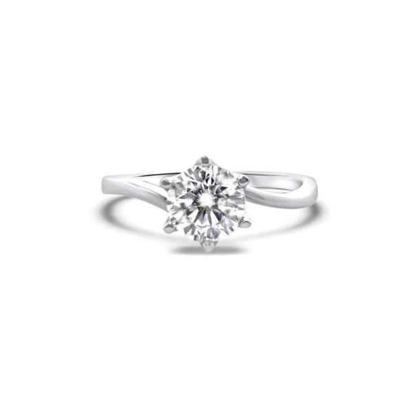 """GEMODA GEMODA """"Divine"""" 1ctw Moissanite Round Solitaire 18k Engagement Ring - Gemorie"""