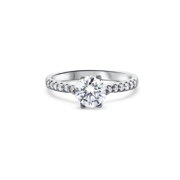 """GEMODA GEMODA """"Eternal Love"""" Moissanite 1ctw Engagement Ring in 18k White Gold Diamond Setting - Gemorie"""