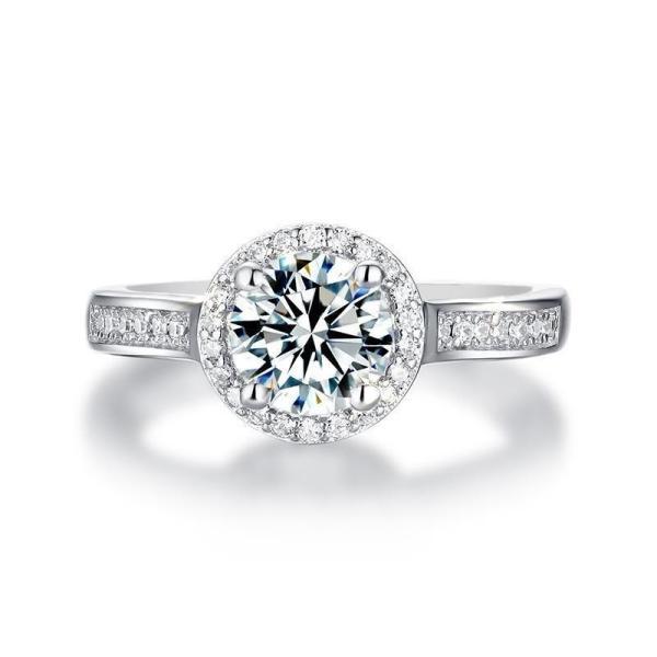 "GEMODA GEMODA ""Florence"" 1 Carat Round Brilliant Moissanite Halo Ring in 925 Sterling Silver - Gemorie"