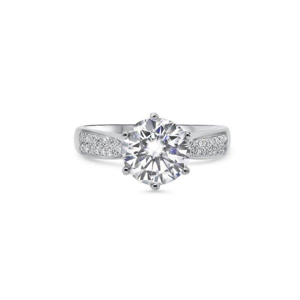 """GEMODA GEMODA """"Manhattan"""" 2ctw Brilliant Round Moissanite Pave 18k Engagement Ring - Gemorie"""