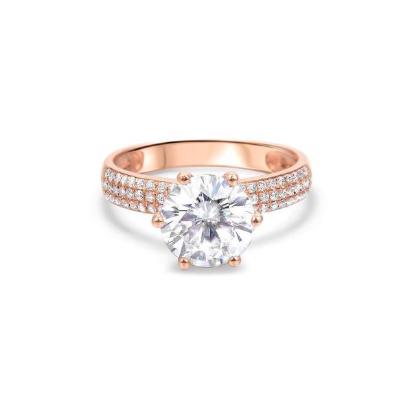 """GEMODA GEMODA """"Rose"""" 2ctw Moissanite Engagement Ring in 18k Rose Gold Pave Diamond Setting - Gemorie"""