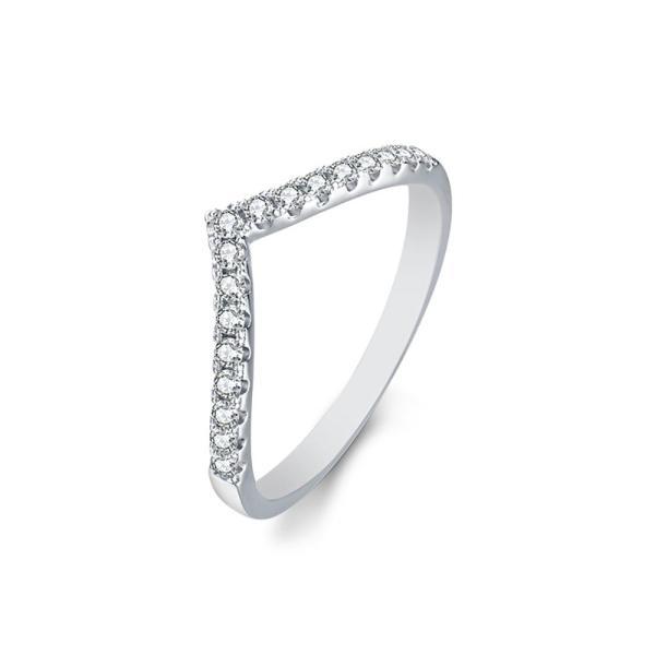"GEMODA GEMODA ""Virginia"" Stackable Pavé Moissanite Ring in 925 Sterling Silver - Gemorie"
