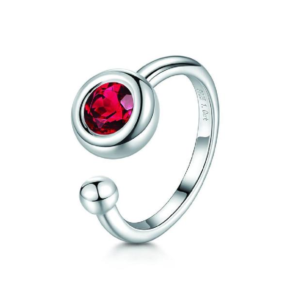 "Gemorie Women's ""Luna"" 1 Carat Red Moissanite Bezel Setting Ring Silver Plated 925 Sterling Silver - Gemorie"