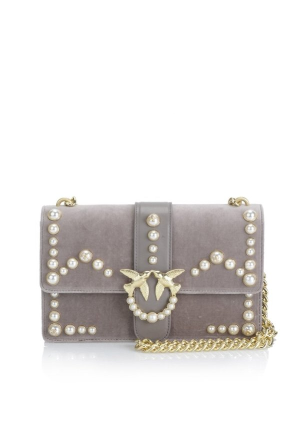 PINKO PINKO- VELVET LOVE BAG WITH PEARLS AND GOLD CHAIN- GREY - Gemorie