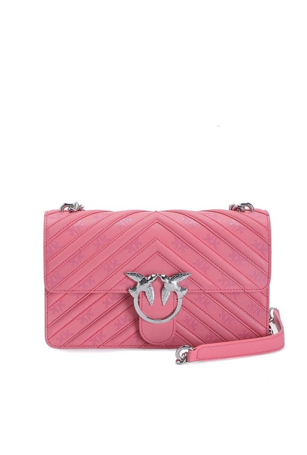 PINKO STRIPES LOVE BAG IN LEATHER WITH LOVE BIRDS PRINT- CORAL - Gemorie