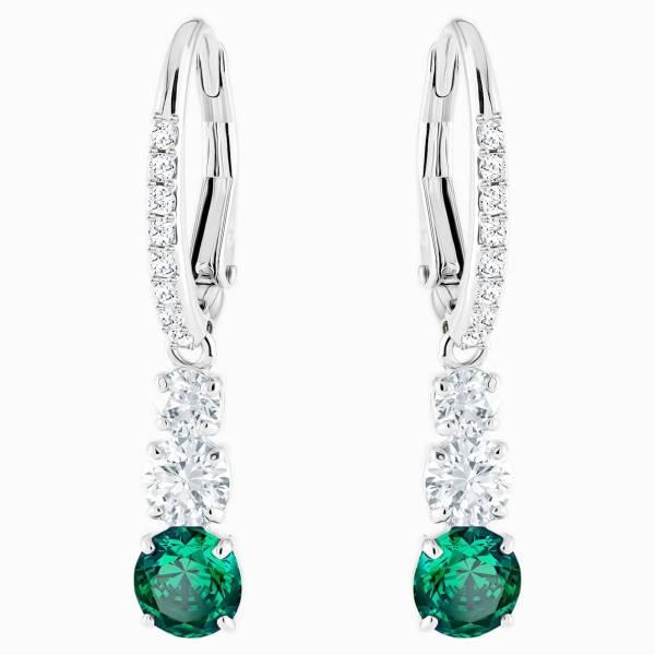 Swarovski SWAROVSKI Attract Triology Round Pierced Earrings - Green & Rhodium Plated - Gemorie