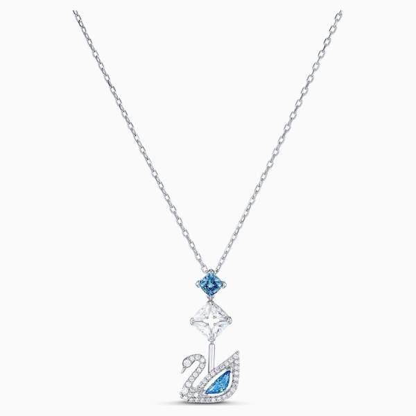 Swarovski SWAROVSKI Dazzling Swan Necklace - Blue & Rhodium Plated - Gemorie