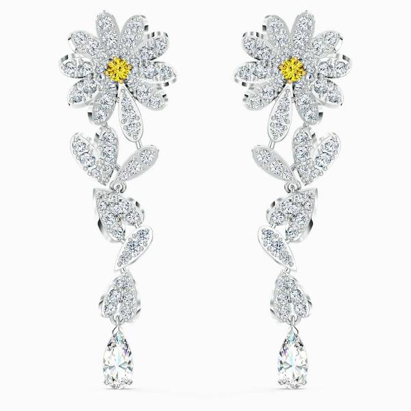 Swarovski SWAROVSKI Eternal Flower Pierced Earrings - Yellow & Mixed Metal Finish - Gemorie