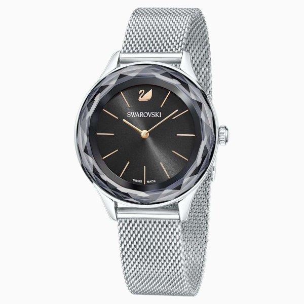Swarovski SWAROVSKI Octea Nova Milanese Watch - Stainless Steel & Black - Gemorie