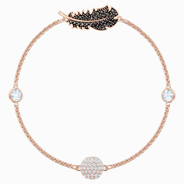 Swarovski SWAROVSKI Remix Collection Feather Strand Bracelet - Black & Rose Gold Tone Plated - Gemorie
