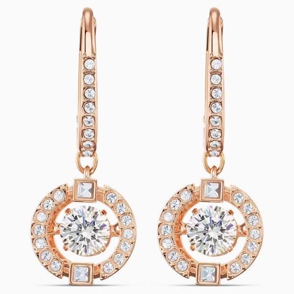 Swarovski SWAROVSKI Sparkling Dance Pierced Earrings - White & Rose-Gold Tone Plated - Gemorie