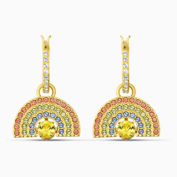 Swarovski SWAROVSKI Sparkling Dance Rainbow Pierced Earrings - Light Multi-Colored & Gold Tone Plated - Gemorie